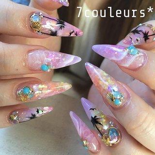 #summer 🌴✨ 色味が可愛い😍 . . Nail atelier 7couleurs* ご予約はDMからでも💌承ります❣️ 《LINE ID➡️➡️777co》 ☎️は @7couleurs1020 へ  #nails #nailart #naildesign #acrylic #acrylicnails #gel#art#nailfashion #Japanesenailart #summernails #ジェルネイル#7couleurs #新宿ネイル#ネイル #ネイルアート #ネイルデザイン #女子#爪のおしゃれ #夏ネイル#サマーネイル #スカルプ #スカルプネイル #派手ネイル#エアーブラシ #美甲#네일아트#젤네일#네일 #夏 #旅行 #海 #リゾート #水滴 #スターフィッシュ #スーパーロング #ピンク #イエロー #カラフル #スカルプチュア #NahoZaitsu #ネイルブック