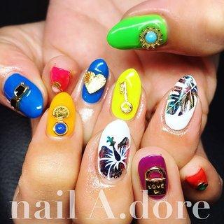 ネオンな派手派手ネイル  #nail #nails #nailart #nailsalon #nailswag #nailstagram #nailaddict #naildesign #fashion #gelnails #crazy #neon #metallic #colorful #instagood #instanails #ネイル #ネイルデザイン #ネイルアート #ネオンカラー #派手ネイル #蓄光ネイル #夏真っ盛り #浜松 #浜松市ネイルサロン #浜北 #浜北区ネイルサロン #ネイルアドーア #夏 #海 #パーティー #女子会 #ハンド #フラワー #アンティーク #くりぬき #ホイル #ボタニカル #ミディアム #ホワイト #メタリック #カラフル #ジェル #お客様 #nail A.dore #ネイルブック