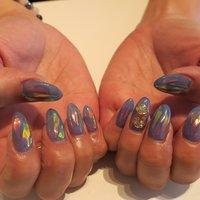#夏 #海 #浴衣 #ライブ #ハンド #ホログラム #ステンドグラス #ホイル #ミディアム #ブルー #ジェル #lovejewelry nail #ネイルブック