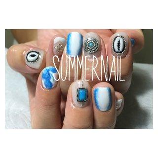 thankyou💋 #summer  #concho #shell #art #marble #stone #gel #nail #CLAIL516 #フレンチ #シェル #タイダイ #大理石 #マリン #ショート #ホワイト #ブルー #ジェル #clail #ネイルブック