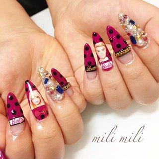 . ド派手なネイルもお任せください♡ バービー&ケンネイル♡ #nail#nails#nailart#instanails#instanail#nailstagram#sculpture#longnails#barbie#barbienails#pinknails#ネイル#スカルプチュア#ロングネイル#派手ネイル#バービーネイル#ビジューネイル#埋め尽くしネイル#ドットネイル#チェーンネイル#可愛いネイル#鹿児島#鹿屋#都城#志布志#志布志ネイル#志布志脱毛#milimili #オールシーズン #ハロウィン #パーティー #ハンド #痛ネイル #キャラクター #チェーン #ドット #ロング #ピンク #パープル #ブラック #ジェル #お客様 #milimili #ネイルブック