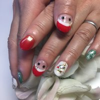 クリスマスネイル #冬 #ハンド #ワンカラー #雪の結晶 #ショート #レッド #グリーン #ジェル #お客様 #kaui #ネイルブック