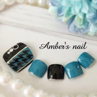 #冬 #デート #女子会 #フット #千鳥柄 #ターコイズ #ブルー #ブラック #ジェル #ネイルチップ #Amber's nail アンバーズネイル #ネイルブック