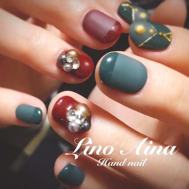 Lino Aina. hand nail♡マットコートネイル #アンティーク #シンプル #オールシーズン #グリーン #秋 #冬 #お正月 #マット #レトロ #ジェルネイル #お客様 #ボルドー #ハンド #ショート #LinoAina《Misa》鹿児島 #ネイルブック