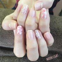 春なのでお花を描きました🌸 OLさんに人気なクリアなピンクの色合いです❣️ #オフィス #ハンド #フラワー #ショート #ピンク #ジェル #お客様 #yuri #ネイルブック