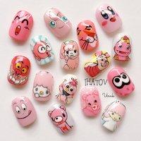 more Pink!!!!!  春なので、ピンクのキャラばかり #春 #卒業式 #入学式 #女子会 #ハンド #アニマル柄 #痛ネイル #キャラクター #ショート #ピンク #ジェル #ネイルチップ #IHATOV-nailarts- #ネイルブック