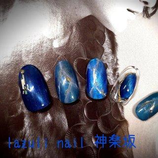 #春 #夏 #旅行 #海 #ハンド #ワンカラー #シェル #ジオメトリック #大理石 #オーロラ #ミディアム #ターコイズ #水色 #ブルー #ジェル #ネイルチップ #lazuli.nail #ネイルブック