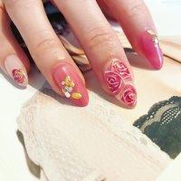 手描きのバラ(∩˃o˂∩)♡   #オーダーチップ#オーダーチップ承ります #ネイルチップ    #春ネイル##ネイルデザイン#春ネイル2018#ブライダルネイル#Lolenail#Lole   #手書きアート #フラワー#ばら#薔薇#バラ#マーブル#奥行きアート #ピンク #大人 #やの #ネイルブック