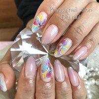 #春 #夏 #オフィス #デート #ハンド #グラデーション #フラワー #ピンク #イエロー #ブルー #ジェル #お客様 #Private nail salon Dia nail #ネイルブック