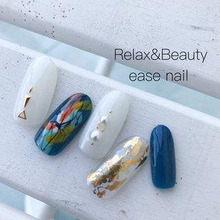 . 他人と被らないデザイン☝️ . --------------------------- 愛知県尾張旭市東栄町2-2-3 TEL☎︎0561-52-0550 営業時間 10:00〜20:00 Relax&Beauty ease --------------------------- #nail#nailist#love#nailart#nails#nailsalon#ease_nail#gel#nailistagram#네일#결혼식#여름네일#ネイル#ネイルデザイン#ジェルネイル#ネイルアート#ハンドネイル#指甲#美甲#シンプルネイル#オフィスネイル#カジュアルネイル#ニュアンスネイル#ショートネイル#お洒落さんと繋がりたい#春ネイル#zara#フラワーネイル#夏ネイル#ホイルネイル#メタリックネイル  #夏 #海 #オフィス #女子会 #ハンド #タイダイ #大理石 #ニュアンス #プッチ #オーロラ #ミディアム #ホワイト #ブルー #ネイビー #ジェル #ネイルチップ #easenail #ネイルブック