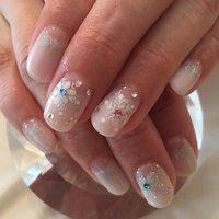 雪の結晶!!! #nailart #handwriting #ネイルアート #冬ネイルデザイン #スノウフレークネイル #冬 #ハンド #雪の結晶 #ショート #ホワイト #ジェル #お客様 #Yoshiko Mizushima #ネイルブック