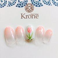 春ネイル #春 #デート #女子会 #グラデーション #フラワー #ホワイト #ピンク #ジェル #krone2014 #ネイルブック