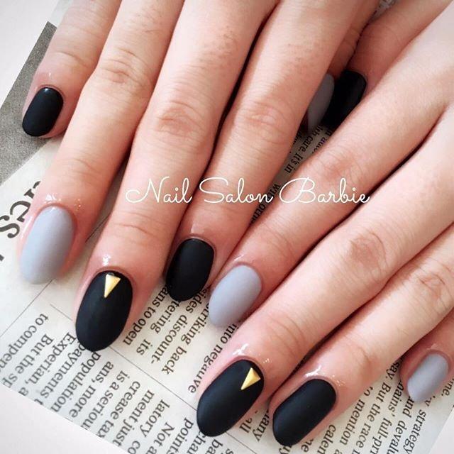 Nailsalonbarbie nailsalonbarbie nail nails nailart naildesign gel gelnail black gray mattenail simplenail vetro voltagebd Gallery