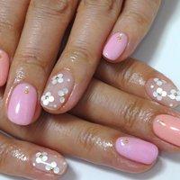 #ピンク #オレンジ #LAねいる(らねいる) #ネイルブック