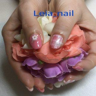 ブランケットネイル♪ お花のパーツ🌸 #Leianail♪ #ネイルブック