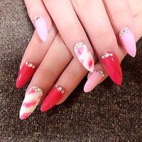 #春 #ハンド #マーブル #ロング #ピンク #ジェル #お客様 #Leala nail #ネイルブック