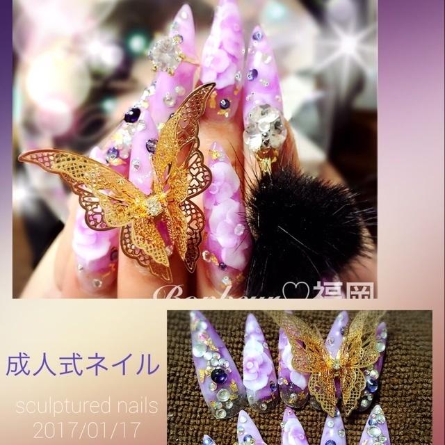 #3D #タイダイ #フラワー #冬 #パープル #お正月 #成人式 #お客様 #ホワイト #スーパーロング #スカルプチュア #ハンド #Bonheur★なおみ #ネイルブック