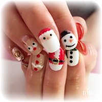#冬 #クリスマス #ハンド #痛ネイル #キャラクター #ミディアム #ホワイト #レッド #カラフル #ジェル #お客様 #になんこ #ネイルブック