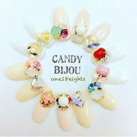 Candy Bijou 新作♡ #オールシーズン #成人式 #クリスマス #パーティー #ワンカラー #ビジュー #パール #ホワイト #ピンク #カラフル #Toomoka #ネイルブック