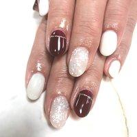 雪の結晶ネイル❄️ #冬 #お正月 #クリスマス #ハンド #シンプル #ドット #ノルディック #ミディアム #ホワイト #ボルドー #ジェル #お客様 #sulir #ネイルブック