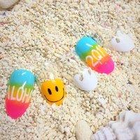 #2017#happynewyear#smile#wave#aloha #夏 #お正月 #成人式 #デート #グラデーション #マリン #ピンク #ブルー #カラフル #ジェル #ネイルチップ #AlohappyNail #ネイルブック
