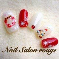 クリスマスネイル❷✨ #冬 #クリスマス #ハンド #ホワイト #レッド #ジェル #Nail Salon rouge #ネイルブック