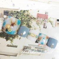 【New!フット定額ネイル】 エスニックタイダイネイル🏝 透け感のあるホワイトにターコイズブルーとブラウンのタイダイが大人エスニック風👍 #ユキコネイル #エスニックネイル #夏ネイル #夏 #オールシーズン #旅行 #海 #フット #エスニック #タイダイ #ホワイト #ターコイズ #ブラウン #ジェル #ネイルチップ #ユキコネイル #ネイルブック