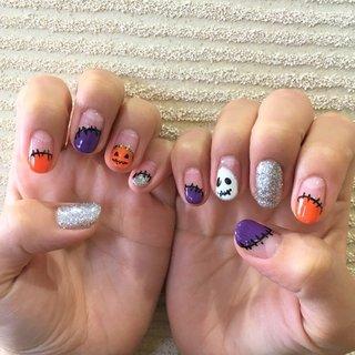 ハロウィンネイル♪ #ジェルネイル #ハロウィン #かぼちゃ #おばけネイル #ラメ #秋 #ハロウィン #パーティー #ハンド #フレンチ #アンティーク #痛ネイル #キルティング #ショート #オレンジ #パープル #シルバー #ジェル #お客様 #TKS #ネイルブック