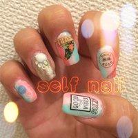 左手のnail♥(ˆ⌣ˆԅ) #夏 #海 #ハンド #グラデーション #トロピカル #ミディアム #カラフル #ジェル #セルフネイル #pinky73 #ネイルブック