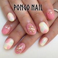 ピンクのドレスのブライダルネイル♡ #ブライダル #デート #ハンド #ワンカラー #タイダイ #ショート #ホワイト #ピンク #カラフル #ジェル #お客様 #hs #ネイルブック