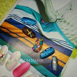 オリジナルデザイン #春 #夏 #オールシーズン #海 #シェル #シースルー #ニュアンス #ホイル #木目調 #ターコイズ #ブルー #ブラウン #Nail Salon.MARIA #ネイルブック