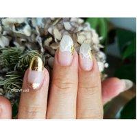 ゴールド ニュアンス 波ネイル クリアネイル #GROW nail #ネイルブック