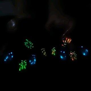 花火、金魚ネイル 光るネイル #夏 #浴衣 #ハンド #グラデーション #和 #ミディアム #ブルー #ネオンカラー #ジェル #お客様 #グランディール #ネイルブック