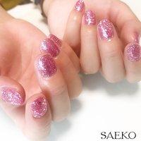 #ジェルネイル #ラメ #ピンク #シンプルネイル #お客様 #ワンカラー #Nail salon~Belle Wing~ #ネイルブック