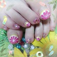 #夏 #海 #浴衣 #フルーツ #ピンク #ジェル #お客様 #みゅう #ネイルブック