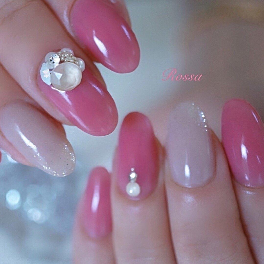 うるうるツヤツヤ✨ 美しい指先💗 #ビジュー  #3dattacker  #ピンク  #うるつやネイル #オールシーズン #パーティー #デート #女子会 #ハンド #シンプル #ラメ #ワンカラー #ビジュー #ミディアム #ベージュ #ピンク #グレー #ジェル #お客様 #nailrossa #ネイルブック