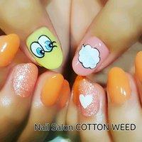 韓国で人気のプレイノーモア♪ #ハンド #ラメ #ワンカラー #キャラクター #ピンク #オレンジ #イエロー #カラフル #ジェル #お客様 #cottonweed #ネイルブック