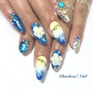 キラキラ×サマー♡  夏はド派手にしちゃいましょ〜 ペイントのヤシの木と 3Dのプルメリアが目立ちます♪ . #nails #naildesign #nailart #instanails #instagood #color #blue #flower #footnail #art #plumeria #like4like #chaehwanail #ネイル#ネイルデザイン #フットネイル #夏ネイル #ブルー #プルメリア #キラキラ #カラー #京急川崎 #川崎ネイルサロン #네일#네일아트#네일스타그램 #젤네일 #아트 #페인트 #美甲 . ご予約は↓からお願いします! *Facebook : https://m.facebook.com/Chaehwa.Nail/ *LINE@ : @chaehwa_nail(@から検索) *Gmail : chaehwa.nail@gmail.com *Instagram DM : @chaehwa_nail  ご連絡お待ちしております(*´꒳`*)♪ Chaehwa*Nail #夏 #海 #リゾート #パーティー #ハンド #ワンカラー #ホログラム #フラワー #3D #マリン #ロング #ホワイト #ブルー #シルバー #ジェル #お客様 #chaehwa_8127 #ネイルブック