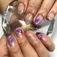 #ジェルネイル#purple#beige#金箔#マーブル#変形フレンチ #ハンド #変形フレンチ #マーブル #ベージュ #パープル #グレージュ #ジェル #お客様 #nail_luckme #ネイルブック