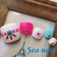 サンプルチップ #夏 #海 #フット #エスニック #ホワイト #ピンク #ブルー #ジェル #ネイルチップ #SeaNailシーネイル #ネイルブック