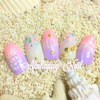 #alohappynail#aloha nail#shell #夏 #海 #リゾート #ハンド #グラデーション #ミディアム #ピンク #パープル #パステル #ネイルチップ #AlohappyNail #ネイルブック