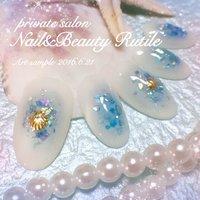 https://www.facebook.com/Nail.and.Beauty.Rutile/ #夏 #梅雨 #海 #リゾート #ハンド #ホログラム #シェル #チーク #ロング #ホワイト #ブルー #Nail&BeautyRutile♡Risa #ネイルブック