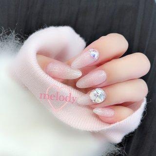 #ピンク #ビジュー #ラメ#シンプル #ワンカラー #ブライダル #パーティー #ジェルネイル #キラキラネイル #ハンド #シンプル #ワンカラー #ラメ #ビジュー #クリア #ピンク #パステル #ジェル #melody #ネイルブック