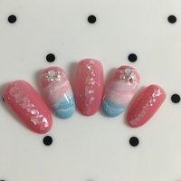 #夏 #海 #ホワイト #ピンク #ブルー #セルフネイル #Helen Gu #ネイルブック