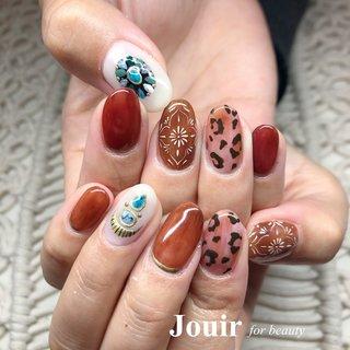#moonlitさんのデザインを参考に ❁ #秋 #冬 #旅行 #ハンド #エスニック #レオパード #ミディアム #ベージュ #ボルドー #ブラウン #ジェル #お客様 #Jouir for beauty - hair nail eyelash- #ネイルブック