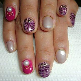 短いお爪でも可愛いく仕上がるデザインに #オールシーズン #ハンド #ツイード #ショート #ピンク #パープル #グレージュ #ジェル #お客様 #ne #ネイルブック