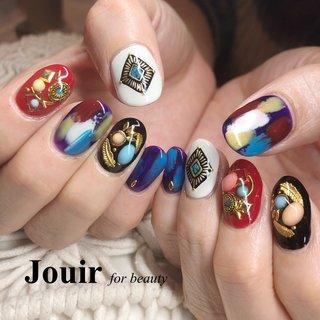 派手カワ個性派ネイル✩ 雑誌からお選びいただきました! #秋 #冬 #ハロウィン #クリスマス #ハンド #ビジュー #フェザー #エスニック #ロック #ショート #レッド #パープル #ブラック #ジェル #お客様 #Jouir for beauty - hair nail eyelash- #ネイルブック