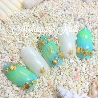 beach nail #夏 #海 #リゾート #ハンド #ホワイト #グリーン #ブルー #ネイルチップ #AlohappyNail #ネイルブック