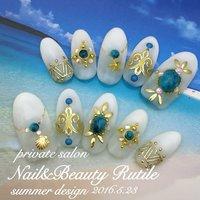 #夏 #海 #リゾート #ハンド #グラデーション #シェル #エスニック #スターフィッシュ #ロング #ホワイト #ブルー #ゴールド #ネイルチップ #Nail&BeautyRutile♡Risa #ネイルブック