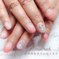 #冬ネイル #グラデーション #ピンク #雪の結晶 #阪神西宮 #自爪育成サロン西宮 #RosePeach #ネイルブック